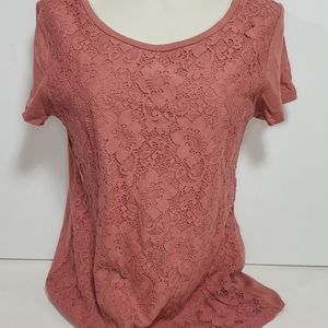 Ann Taylor LOFT Short Sleeve Lace Shirt